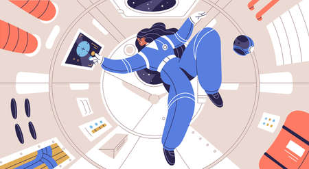 Concept of zero gravity and weightlessness in cosmos. Weightless astronaut floating inside spaceship cabin. Female cosmonaut flying in space ship. Flat vector illustration of woman in spacesuit