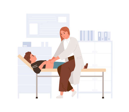 Doctor examining child in pediatric hospital. Pediatrician palpating kid belly. Boy lying on couch at physician s office in modern clinic. Colored flat vector illustration isolated on white background