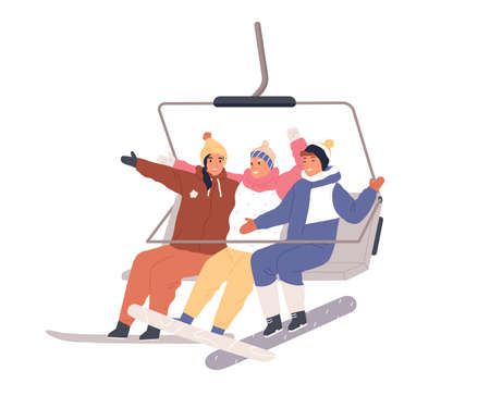Happy people sitting in cable car with snowboards. Snowboarder friends in open cabin of rope cableway. Active smiling tourists on winter holidays. Flat vector illustration isolated on white background