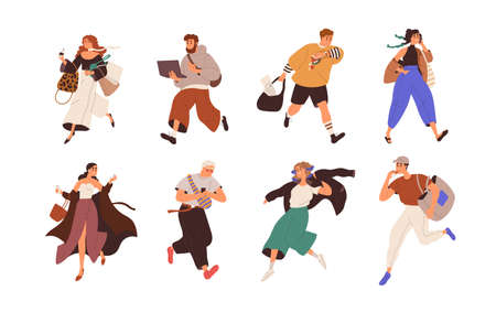 Busy people are late, running fast, hurrying and doing business on the fly. Set of man and woman rushing, working and talking on phone on the go. Flat vector illustration isolated on white background