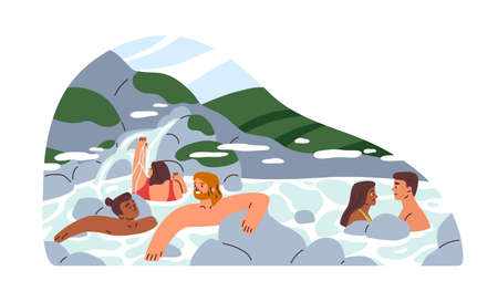 Happy people relaxing and bathing in hot springs of natural public SPA resort. Human health recreation park with thermal waters in nature. Flat vector illustration isolated on white background