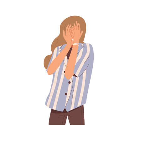 Shy embarrassed woman hiding face out of shame. Frightened person feeling fear. Disappointed female. Expression of negative emotions after fail. Flat vector illustration isolated on white background Vetores