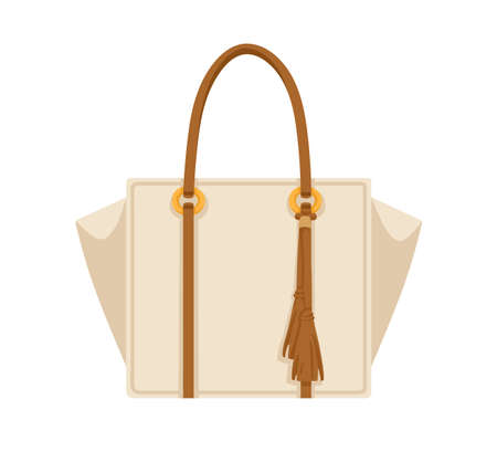 Women shopper bag with leather double handle and fringe. Female handheld handbag of rectangular shape. Modern fashion hand luggage. Realistic flat vector illustration isolated on white background Ilustración de vector