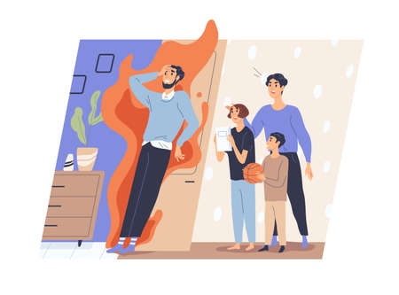 Tired father and annoying disturbing children asking for smth. Hard parenthood and fatherhood concept. Stress and exhaustion of frustrated dad. Flat vector illustration isolated on white background
