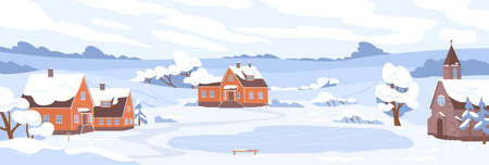 Winter village landscape with houses and trees covered with snow. Panorama of rural nature with buildings and rink in cold weather. Peaceful outdoor scenery of countryside. Flat vector illustration