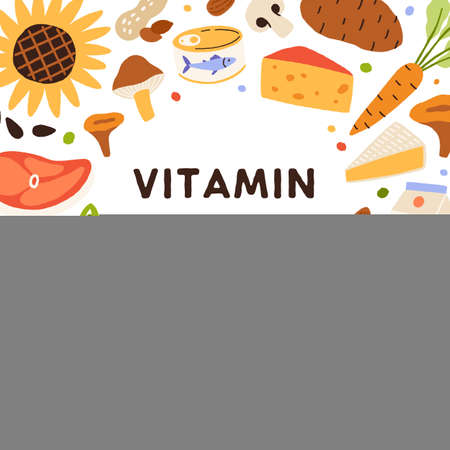 B3, health card with vitamin-rich natural food. Healthy nutrition enriched with niacin B 3. Circle frame of organic mineral nutrients with nicotinic acid. Colorful flat vector illustration