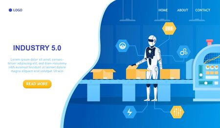 Robot factory worker. Android works on the assembly line Artificial Intelligence in Production Industry 5.0 concept Futuristic Technology Modern Manufacturing Innovation Robot Flat Vector Illustration