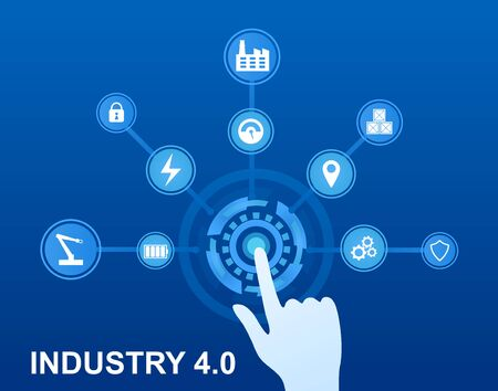 Infographics Industry 4.0 Concept. Modern approaches and technologies. Internet of Things. Instruments in production Cyber factory on blue background Artificial Neural Network Flat Vector Illustration