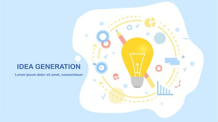 Vector creative idea color illustration. A light bulb around which thoughts and decisions revolve. The concept of brainstorming and ingenious solution. Flat style on blue background, Landing Page