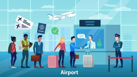 People of different races and nationalities are waiting in line for the passport control before departure. The officer checks the passport. Airport interior. Vacation time. Flat Vector Illustration