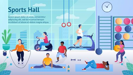 Fat people work out in the gym to lose weight. Men and women are working hard and improving their shape. Fighting obesity. They run on the treadmill jump on a skipping rope. Flat Vector Illustration