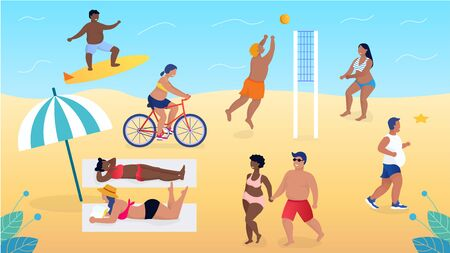 Overweight beautiful people relaxing on the beach without complexes Play volleyball Lovers walking. Reading books They accept themselves as they are and live fully Flat Cartoon Vector Illustration