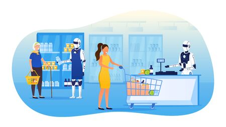 Futuristic robot assistants in a supermarket Android helper carefully helps elderly grandmothers to choose the product Another robot salesman punches the goods at the checkout Flat Vector Illustration