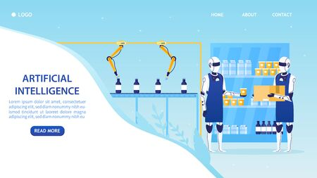Automatic Robotic Claw Conveyor Dairy Product. Robotic arm works on the line. Robots milkmen pack products. Manufacture storage equipment. Futuristic Artificial Intelligence Technology. Flat Vector Stock Illustratie
