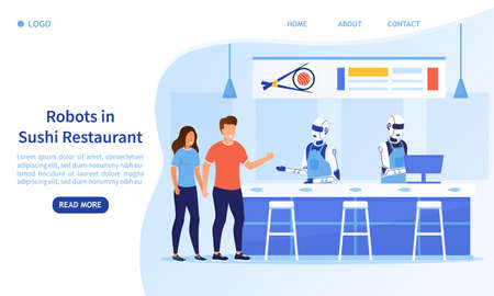 Automated service in the sushi restaurant. The humanoid robot takes orders and counts customers in the cafe. Modern technologies in the service sector Perfect for landing, web Flat Vector Illustration 일러스트