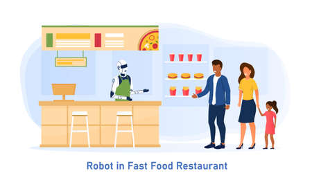 Young family with a child make an order at a fast food restaurant. A robot worker serves people in a restaurant. Futuristic concept of automated processes in catering establishments. Flat Illustration
