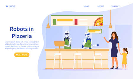 Automated service in the pizzeria. The humanoid robot takes orders and counts customers in the cafe. Modern technologies in the service sector Perfect for landing, web Flat Vector Illustration