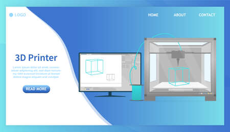 The principle of operation of the 3D printer concept. Printer printing a cyan plastic cube from computer. Management is carried out through the program on the computer. Flat Vector Illustration 向量圖像