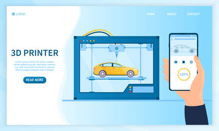 3d printer prints a car. A man holds a smartphone in his hand and selects the characteristics for his new car. Industrial 3D printer. Futuristic large car printer. Flat Vector Illustration