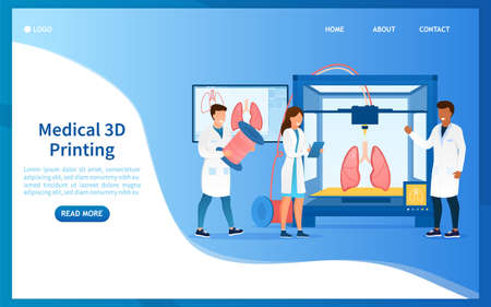 Bioprinter concept. Scientists reproduce human organs on a 3D printer. Bioengineering. Futuristic medicine. Medical printer. Perfect for landing page, web design, banner, header or mobile app. Vector