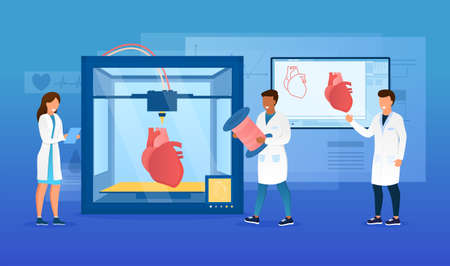 Bioprinter concept. Scientists reproduce human heart on a 3D printer. Bioengineering. Futuristic medicine. Medical printer. Perfect for landing page, web design, banner, header or mobile app. Vector