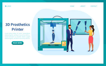 A group of scientists prints a prosthetic leg on a 3D printer. Modern medical technologies for printing prototype prostheses of human limbs. Perfect for landing or web design. Flat Vector Illustration