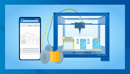 Industrial 3D printer prints smart home. Futuristic technologies for mass production of houses. Architectural engineering with a printer concept. Perfect for landing, web or presentation. Flat Vector