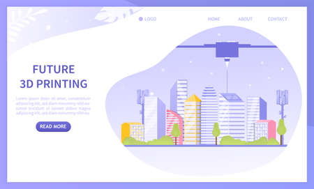 Futuristic 3d printer concept. Construction of cities of the future, using a large printer. Projects of future urban planning. Perfect for landing page or web design. Colorful Flat Vector Illustration