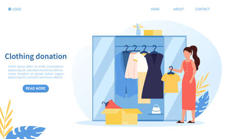 Young beautiful woman packs her clothes in a box as a donation. Charity, volunteering, social responsibility. Helping the needy. Perfect for landing page, web design, banner. Flat Vector Illustration Stock Illustratie