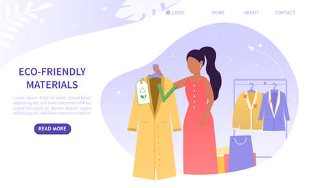 Young beautiful girl in a boutique chooses eco friendly clothes. A new alternative to non-environmentally. Eco friendly fashion. Colorful Flat Vector Illustration Perfect for Landing Page, Web Design Stock Illustratie