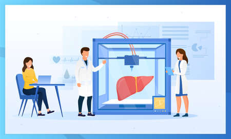 Bioprinter concept. Scientists reproduce human liver on a 3D printer. Bioengineering. Futuristic medicine. Medical printer. Perfect for landing page, web design, banner, header or mobile app. Vector  イラスト・ベクター素材