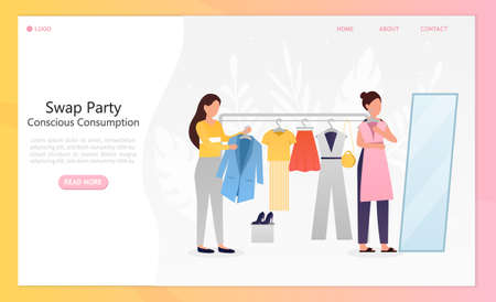 Young beautiful girls at a swap party or flea market. Conscious consumption. Active life position. Clothes donation. Eco lifestyle moving. Perfect for landing or web design. Flat Vector Illustration