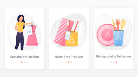A set of three templates modern approaches to waste-free production and consumption. Innovative technologies with care for the environment. Perfect for a mobile application or website. Flat Vector