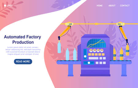 Automatic packing soda concept. Production and packaging of soda at the factory. The bottles are moved on a conveyor belt and filled with a carbonate drink in the machine. Flat Vector Illustration