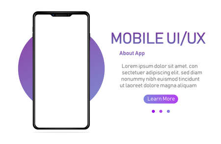 Smartphone with blank screen. Realistick cell phone can be a template for infographics or presentation of interface. Frame less smartphone. Vector Illustration UI UX design