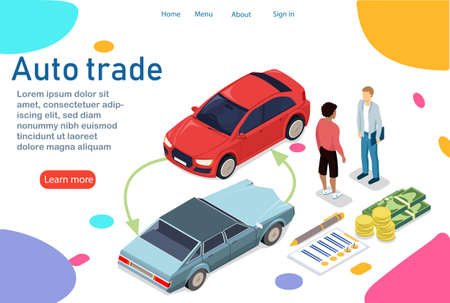 The customer buys a new car. Changes your old car to a new one with a small extra charge. Business relationship between car owner and dealer. Also payment in parts. Vector illustration in 3d isometry Illusztráció