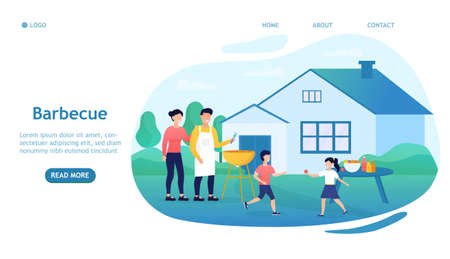 Happy family doing barbecue at garden flat vector illustration. Mother and father cooking outdoor near house. Kids playing with dog at backyard. BBQ party and weekend concept