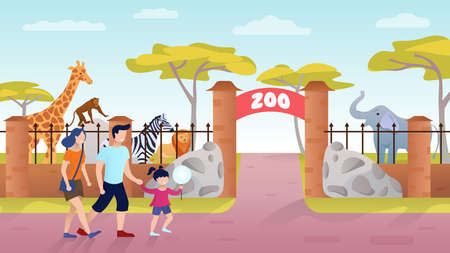 Zoo Entrance. Family on the weekend outdoor. Giraffe, Elephant, Monkey, Zebra Exotic african animals