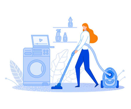 The woman cleans at home. Housewife is vacuuming. Uses the video. Keeps the house clean and tidy. Distribution of family responsibilities. Flat cartoon Vector Illustration. Can be poster or banner. Ilustração