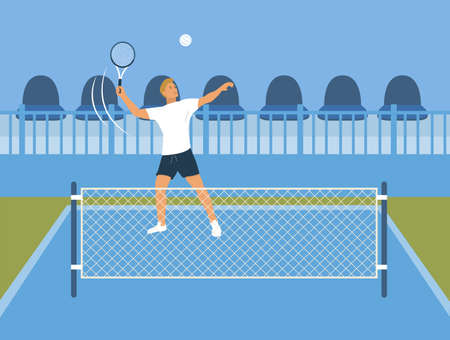 Tennis player participates in competitions. Behind him are the stands. A man in tennis clothes throws a ball. Blue court with mesh. A man is engaged in active sports on weekends. Vector illustration