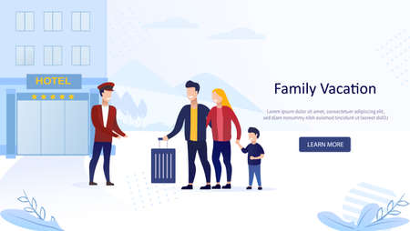Young family on vacation. Tourists concept of lodging in hotel. Landing Page. Check into Hotel. The doorman helps with a suitcase. Flat Vector Illustration