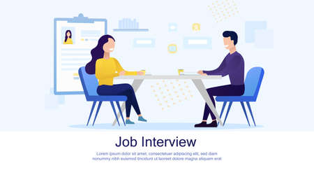 Interview, Negotiation, Meeting Flat Landing Page Mockup. Man and Woman Having Business Conversation. HR Manager and Job Seeker. Flat Vector Illustration Vectores
