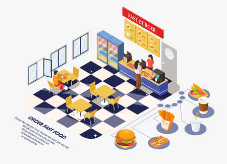 Fast food restaurant interior. The ordering process. Man sitting at the table, restaurant staff serve the customer. With space for text. Vector illustration isolated on white Ilustração