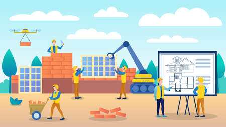 Engineers are considering a house construction plan. The construction manager reports to the senior manager. Employees try to keep up with the schedule. Vector flat cartoon illustration