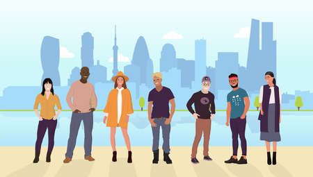 Collection of people of different nationalities, cultures, ages, employment. They live, work, relax, have fun in the big city. The city on the back with a lake in the park. Vector cartoon flat style.