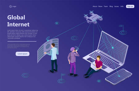 Global High Speed Wireless Exchange Concept. Digital electronic key access. New technologies in information sphere. Digital. Data transfer protocol. Web landing page 3d Isometric Vector Illustration