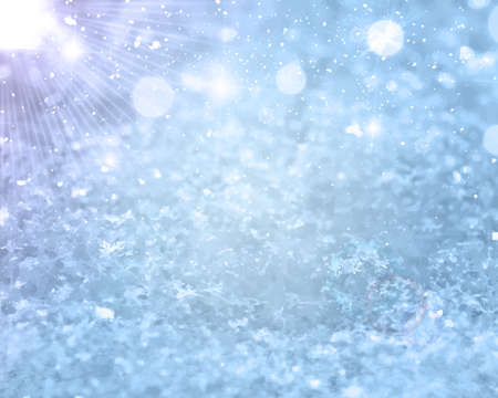 Realistic falling snow. Christmas or Winter background for greetings or advertising with place for text. Glows Frost effect Vector Illustration EPS 10 Isolated