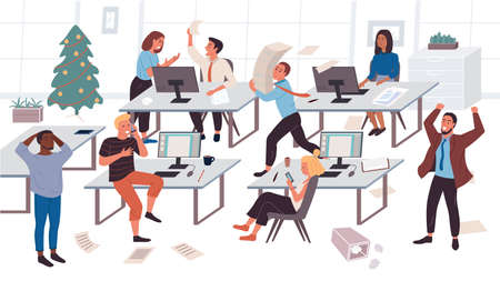 The concept of workflow disorganization. Chaos in the office. The chief yells at his subordinates. Conflict of colleagues at work. Procrastination. Deadline Situation. Flat Cartoon Vector Illustration Vektorové ilustrace