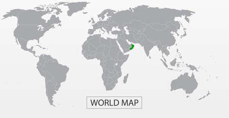 Political Vector Map of the world with clear borders with green highlighted Oman. Each country is isolated and selectable. Suitable for reports, statistics, infographics, templates.