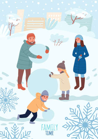 Cheerful Children and parents make a snowman. Have fun in the winter. Happy Family vacation. Sweet childhood Outdoor Activities. Winter vacation card banner or poster. Flat Cartoon Vector Illustration Çizim